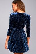 Shine of Your Life Navy Blue Crushed Velvet Wrap Dress 4