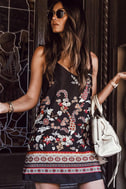 Traveled So Far Black Print Satin Slip Dress 5