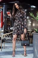 Picturesque Piece Black Floral Long Sleeve Tie-Neck Dress 5