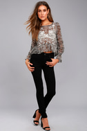 Whispering Winds Grey Floral Print Embroidered Top 7