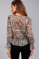 Whispering Winds Grey Floral Print Embroidered Top 9