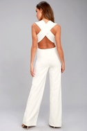 Thinking Out Loud White Backless Jumpsuit 10