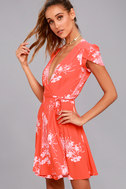 Rollas Dancer Coral Red Floral Print Wrap Dress 2