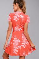 Rollas Dancer Coral Red Floral Print Wrap Dress 3