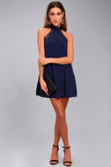 Any Sway, Shape, or Form Navy Blue Lace Halter Dress 7