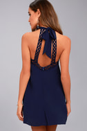 Any Sway, Shape, or Form Navy Blue Lace Halter Dress 9