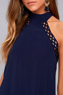 Any Sway, Shape, or Form Navy Blue Lace Halter Dress 10