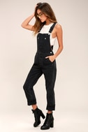 Free People Boyfriend Washed Black High-Waisted Overalls 1