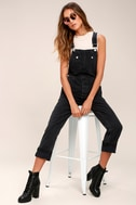 Free People Boyfriend Washed Black High-Waisted Overalls 2