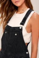 Free People Boyfriend Washed Black High-Waisted Overalls 4
