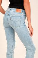 Levi's 711 Skinny Light Wash Distressed Jeans 4