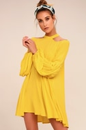 Free People Drift Away Yellow Cold Shoulder Tunic Top 3