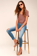 Clara Light Wash Distressed Ankle Skinny Jeans 1
