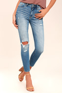 Clara Light Wash Distressed Ankle Skinny Jeans 2