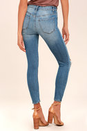 Clara Light Wash Distressed Ankle Skinny Jeans 3