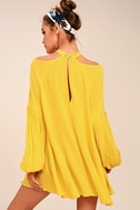 Free People Drift Away Yellow Cold Shoulder Tunic Top 5