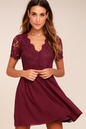 Angel in Disguise Burgundy Lace Skater Dress 1