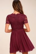 Angel in Disguise Burgundy Lace Skater Dress 3