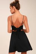 Yours Forever Black Backless Skater Dress 8