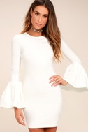 Double Flair White Long Sleeve Bodycon Dress 3