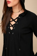 Adventure Forever Black Lace-Up Hooded Thermal Top 1