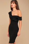 Give Me a Beat Black Off-the-Shoulder Bodycon Midi Dress 3