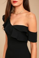 Give Me a Beat Black Off-the-Shoulder Bodycon Midi Dress 5