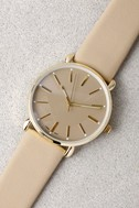 Watch the Clock Gold and Beige Watch 1