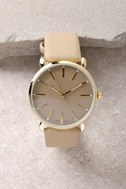 Watch the Clock Gold and Beige Watch 3
