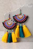 Endless Light Yellow Beaded Tassel Earrings 1