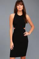 Uniquely Chic Black Bodycon Halter Dress 2