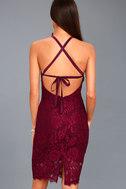 Wishful Wanderings Burgundy Lace Bodycon Midi Dress 3