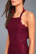 Wishful Wanderings Burgundy Lace Bodycon Midi Dress 4