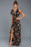 Divine Days Black Floral Print Wrap Maxi Dress 2