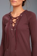 Adventure Forever Plum Purple Lace-Up Hooded Thermal Top 4