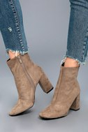 My Generation Taupe Suede High Heel Mid-Calf Boots 5