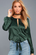 Life of the Party Forest Green Satin Long Sleeve Top 1