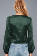 Life of the Party Forest Green Satin Long Sleeve Top 3