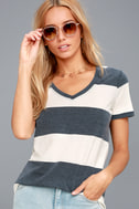 The Venice Washed Navy Blue Striped Tee Shirt 1
