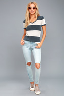 The Venice Washed Navy Blue Striped Tee Shirt 2