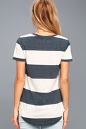 The Venice Washed Navy Blue Striped Tee Shirt 3