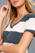 The Venice Washed Navy Blue Striped Tee Shirt 4