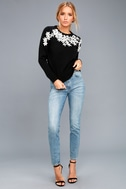 Daisy Do Right Black Embroidered Sweater 2
