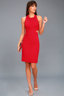 Uniquely Chic Red Bodycon Halter Dress 2