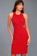 Uniquely Chic Red Bodycon Halter Dress 3