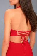 Uniquely Chic Red Bodycon Halter Dress 5