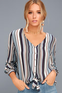 Always Faithful Blue Striped Long Sleeve Knotted Top 3