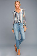 Always Faithful Blue Striped Long Sleeve Knotted Top 2