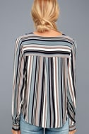 Always Faithful Blue Striped Long Sleeve Knotted Top 5