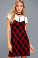 Nick of Time Red and Black Plaid Swing Dress 1
